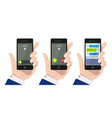 incoming call hand holding smartphone calling vector image