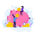 investment concpet people putting money vector image vector image