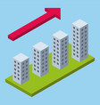 isometric perspective infographic growing city vector image