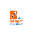 kids birthday event agency letter b icon vector image vector image