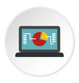 laptop with graph icon circle vector image vector image