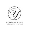 letter y script initial luxury logo design vector image vector image