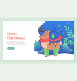 merry christmas deer animal in warm clothes web vector image