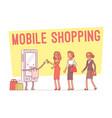 mobile shopping for women vector image