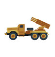 multiple rocket launcher military truck with vector image