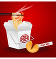 noodles box with chopsticks and fortune cookie vector image