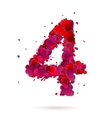 Number four 4 made from red hearts Love alphabet vector image