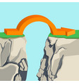 orange arch-shaped arrow spanning across rocky vector image vector image