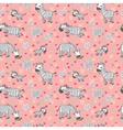 pattern with cute zebras on a pink vector image
