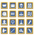 plumber symbols icons set blue square vector image vector image