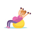 pregnant woman doing exercises female fitness vector image