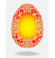 red golden painted easter egg with a pattern of vector image vector image