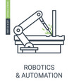 robotics and automatic icon of automatic arm vector image vector image