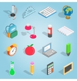 School set icons isometric 3d style vector image