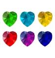 set heart-shaped gemstones vector image
