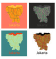 set of flat outline map of the indonesian capital vector image vector image