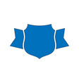 shield blue icon outline simple ribbon vector image vector image