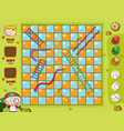 snakes and ladders game boy on green grass vector image vector image