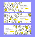 summer sweets - set line design style banners vector image vector image