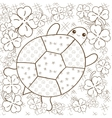 Turtle Heaven adult coloring book page Cute vector image vector image