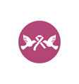 two pigeon with ribbon breast cancer awareness vector image vector image