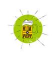 octoberfest flat icon green badge with rays mug vector image