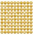 100 antiterrorism icons set gold vector image vector image