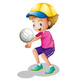 A young man playing volleyball vector image vector image
