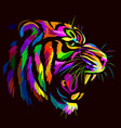 abstract portrait a tiger on a black background vector image vector image