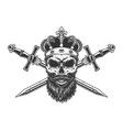 bearded and mustached skull in crown vector image vector image