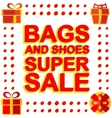Big winter sale poster with BAGS AND SHOES SUPER vector image vector image