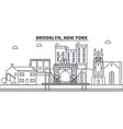 brooklyn new york architecture line skyline vector image vector image
