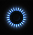 burning stove gas burner realistic vector image