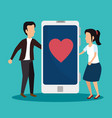 businessman and woman with smartphone vector image