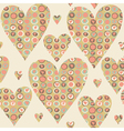 Cartoon hearts and circles seamless pattern vector image