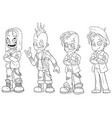 Cartoon punk rock metal guys character set vector image