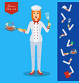 chef woman character with kitchenware and food vector image vector image