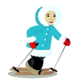 Child ski isolated on white vector image vector image