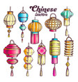 chinese lantern in different shapes set color vector image vector image