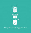 chrismtas gift boxes and typography with pattern vector image