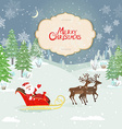 christmas card with santa claus in winter forest vector image vector image