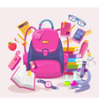 colorful of big girl pink backpack pile of vector image vector image