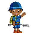 cute hiker boy holding shovel vector image