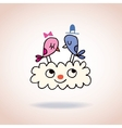 Cute love birds on cloud vector image vector image