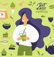 cute young woman drinks matcha tea or smoothies vector image vector image