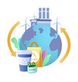 eco friendly planet earth reusable bag cup wind vector image