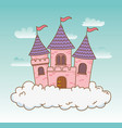 fairytale castle in the clouds scene vector image vector image