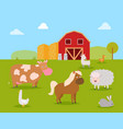 farm animals such as cow horse sheep with rabbit vector image