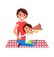 father and daughter on picnic vector image vector image