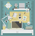 flat modern and stylish teal working place vector image vector image